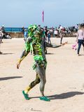 节日参加者致力普珥节在童话服装展示穿戴了表现在凯瑟里雅,以色列 库存图片