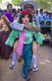节日在bagan缅甸附近的一个村庄 免版税库存图片