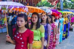 节日在bagan缅甸附近的一个村庄 免版税库存照片