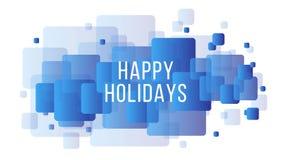 节日快乐与几何方形的元素的创造性的传染媒介摘要背景在白色背景 设计为贺卡 向量例证