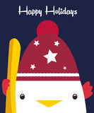 节日快乐与逗人喜爱的公鸡的贺卡在帽子和雪板 免版税库存照片