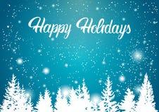 节日快乐冬天山森林风景背景,杉木雪树森林 免版税库存图片