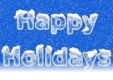 节日快乐在上写字在与雪的冰信件 免版税图库摄影