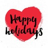 节日快乐在上写字 假日设计、党海报、贺卡、横幅或者邀请的例证 免版税图库摄影