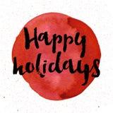 节日快乐在红色背景的文本 邀请和贺卡的,印刷品海报字法 手拉印刷 库存照片