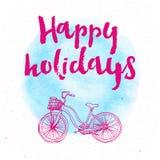 节日快乐在蓝色背景的文本 邀请和贺卡的,印刷品海报字法 手拉的typographi 免版税库存图片