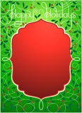 节日快乐在绿色和红色的背景 库存照片