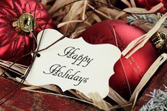 节日快乐标记和圣诞节装饰品 免版税库存图片