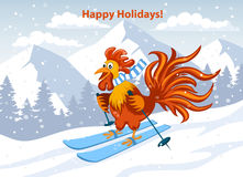 节日快乐,圣诞快乐和新年快乐与逗人喜爱的滑稽的雄鸡滑雪的贺卡 免版税库存照片