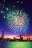 节日烟花国际汉城 免版税图库摄影