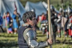 节日的参加者在历史的中世纪衣裳的 库存图片