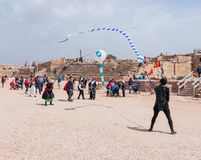 节日的参加者显示与风筝的一个展示 库存图片