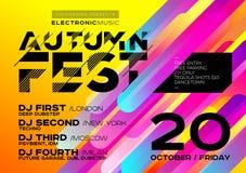 节日的明亮的秋天电子音乐海报或DJ集会 库存例证