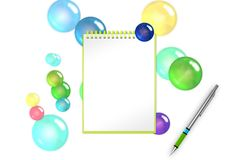 节日空白的笔记薄有青玉泡影和球形背景为招呼增加 3d例证 库存图片