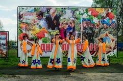 节日音乐会以纪念胜利天在世界大战2中可以9日2016年在卡卢加州地区在俄罗斯 免版税图库摄影