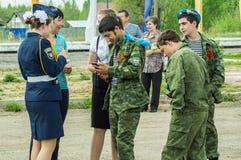 节日音乐会以纪念胜利天在世界大战2中可以9日2016年在卡卢加州地区在俄罗斯 图库摄影