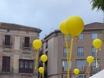 节日,被投下的气球在西班牙 免版税库存照片