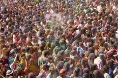 节日de los colores Holi在巴塞罗那 库存图片
