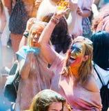 节日de los colores Holi在巴塞罗那 图库摄影