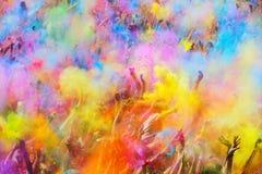 节日de los colores Holi在巴塞罗那 免版税库存图片
