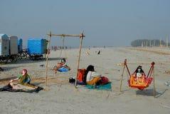 节日ganga sagar的印度 免版税库存图片