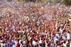 节日Holi在巴塞罗那 免版税库存照片