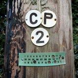 细节标记在电话线杆在南英国 免版税库存图片