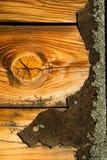 节疤松木委员会被风化的木沥青木瓦屋顶房屋板壁 免版税库存图片