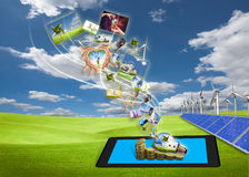 节省额从片剂个人计算机的能源图象流  免版税库存图片