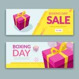 节礼日与五颜六色的被包装的礼物盒的销售设计 库存图片