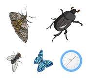 节肢动物昆虫甲虫,飞蛾,蝴蝶,飞行 昆虫在动画片样式传染媒介标志库存设置了汇集象 免版税库存图片
