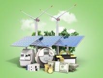 节能太阳电池板和一台风车的概念在附近我 免版税库存图片