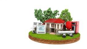 节能房子的概念一块土地的在木煮沸附近的 免版税库存图片