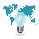 节能概念,在世界地图,在平的设计的传染媒介例证前面的电灯泡 库存图片