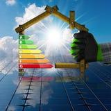 节能-有太阳电池板的议院 免版税图库摄影