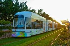 节能绿色都市路轨运输 库存图片