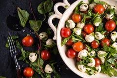 节食沙拉、新鲜的蕃茄和无盐干酪在土气碗 库存照片
