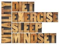 节食,睡觉,锻炼和心态-生命力 免版税库存照片
