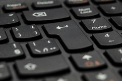 细节黑键盘键特写镜头视图输入 免版税图库摄影