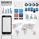 细节infographic传染媒介例证 与触摸屏幕手机的世界地图和信息图表 免版税库存照片