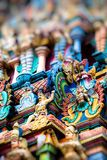 细节Meenakshi寺庙-一最大和古庙在马杜赖,印度 免版税库存图片