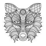 细节zentangle狐狸着色页 免版税库存图片