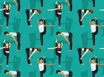 芒加瑜伽姿势身分一分为二向前弯动画片背景无缝的墙纸 皇族释放例证