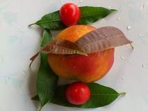 芒果、菜和欢欣 库存照片