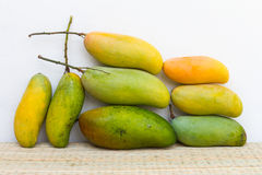 芒果、绿色和黄色 免版税库存照片