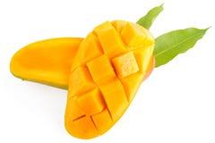 芒果切片和叶子 库存照片