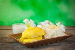芒果和黏米饭 库存图片