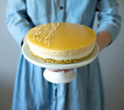 芒果奶油甜点蛋糕 库存照片