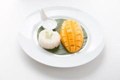 芒果用甜黏米饭 免版税库存图片