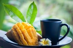 芒果茶 在自然条件的芒果在美好的热带背景 免版税库存照片